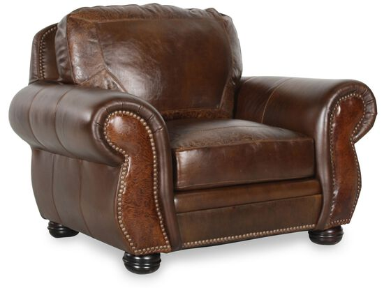 Paisley Patterned Leather 52 Chair In Dark Oak Mathis Brothers Furniture