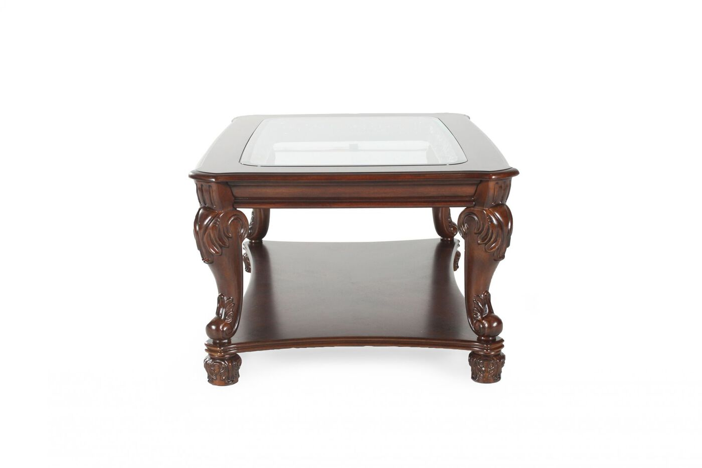 Glass Insert Traditional Cocktail Table In Dark Brown
