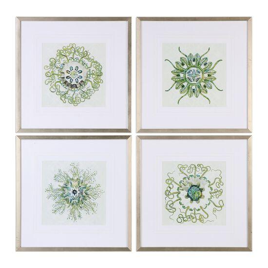 Four-Piece Organic Symbols Printed Wall Art Set in Green