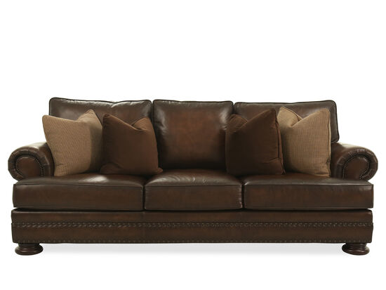 """Leather Nailhead-Accented 98"""" Sofa in Brown"""