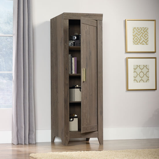 One-Door Traditional Narrow Cabinet in Fossil Oak
