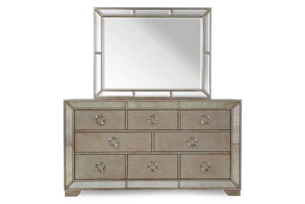 Two-Piece Antique Glass Accented Dresser and Mirror in Gray