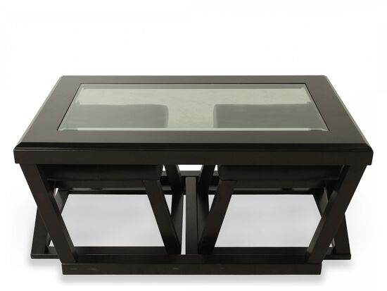 Trapezoid-Base Contemporary Cocktail Table and Two Pullout Ottomansin Dark Brown