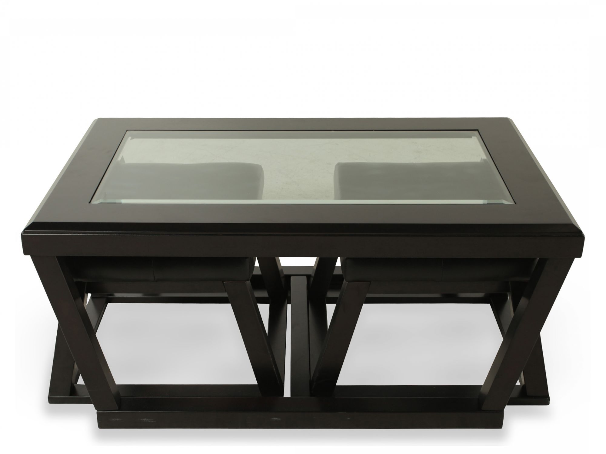 Genial Trapezoid Base Contemporary Cocktail Table And Two Pullout Ottomansu0026nbsp;in  Dark Brown
