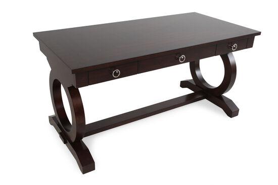 "60"" Open Circle Pedestal Base Contemporary Writing Desk in Brown"