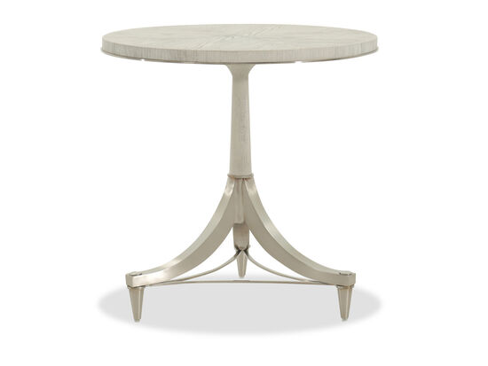 Round Modern Chairside Table in White