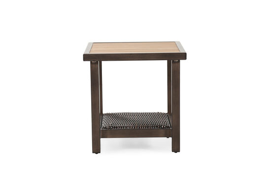 Woven Shelf Aluminum End Table in Light Brown