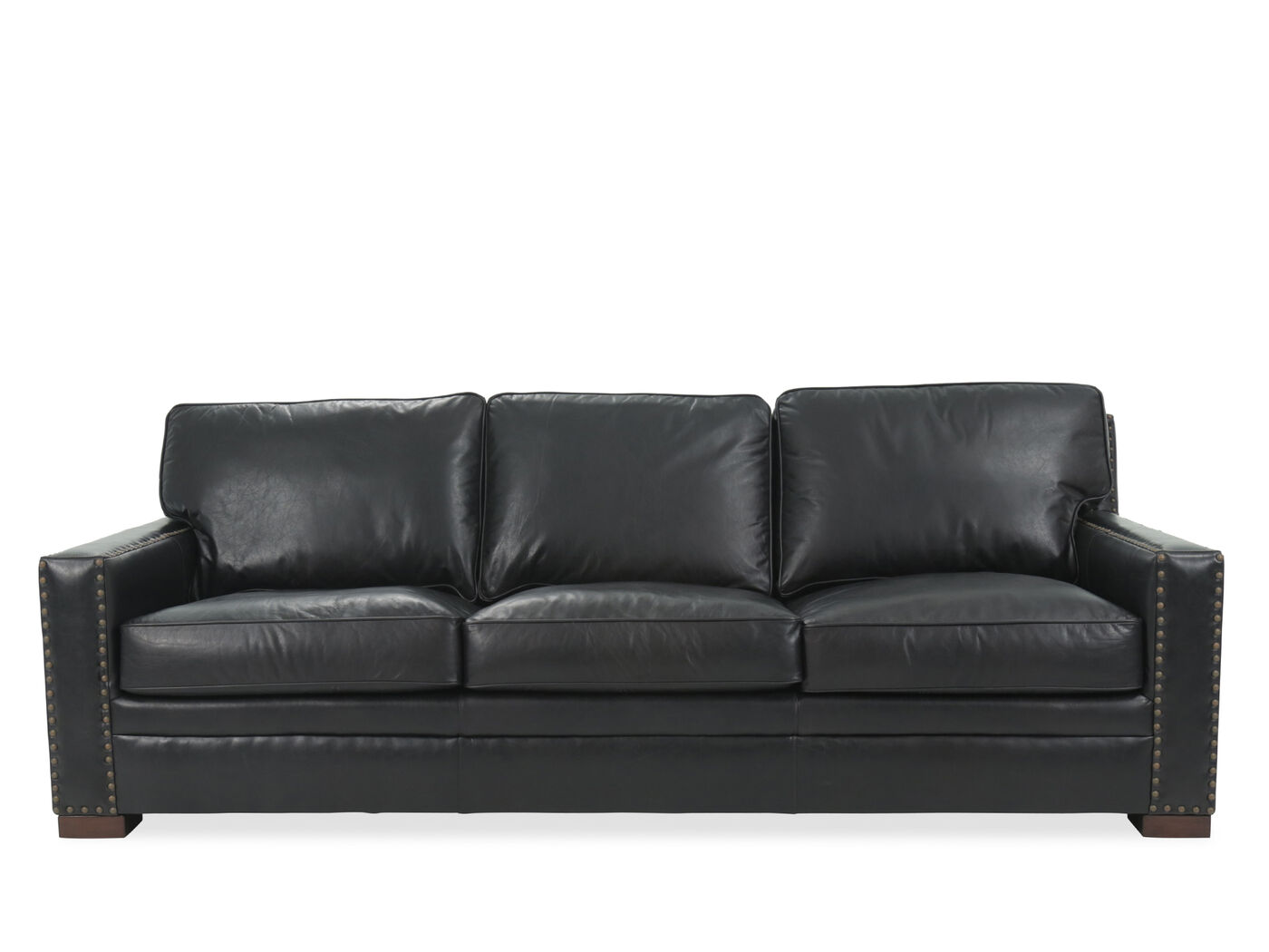 Nailhead Accented Leather Sofa In Black Mathis Brothers