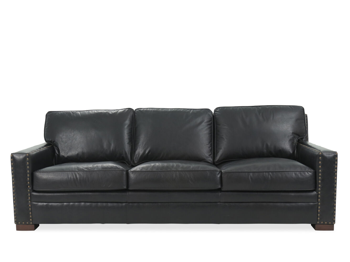 Nailhead Accented Leather Sofa In Black Mathis Brothers Furniture