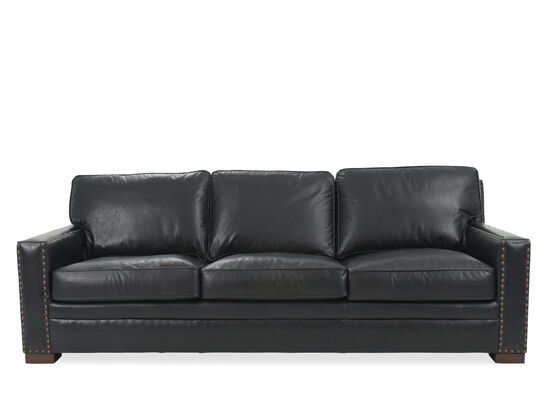 Nailhead-Accented Leather Sofa in Black
