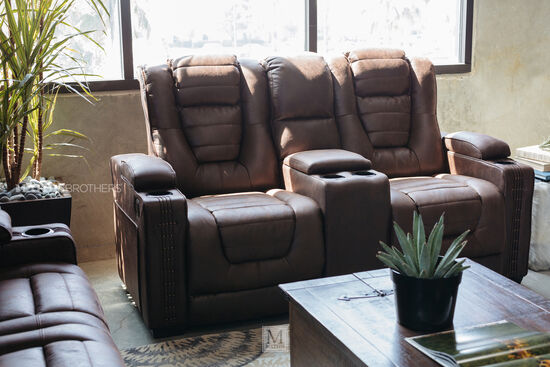 """Power Reclining Ranch House 74"""" Consoled Loveseatin Brown"""