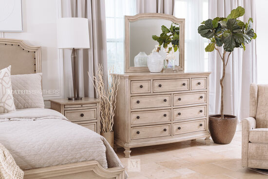 Two-Piece Paneled Dresser and Mirror in White