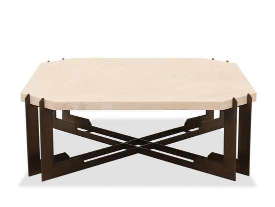 Travertine Top Transitional Cocktail Table in Beige