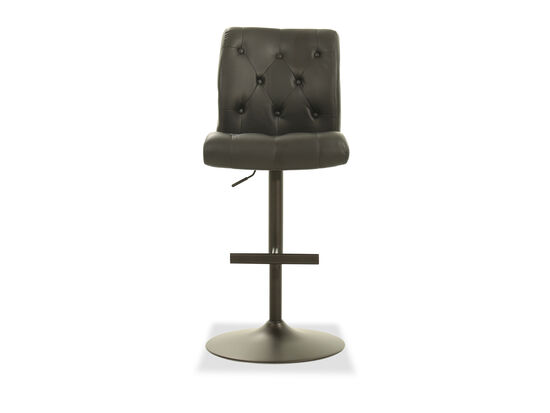 Leather Button Tufted Bar Stool in Black