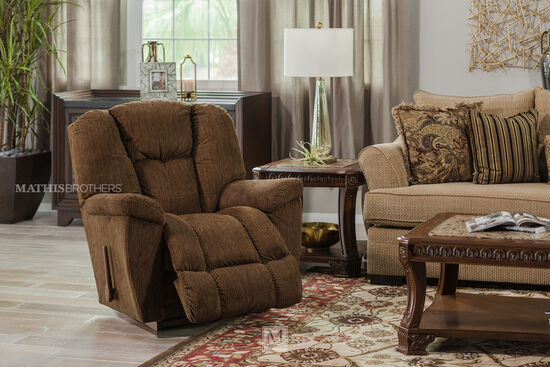 "Ribbed Casual 38"" Rocker Recliner in Pecan Brown"