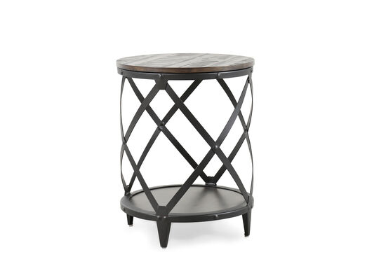 Lattice-Base Contemporary Accent Table in Charcoal