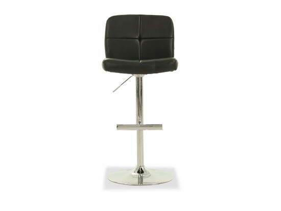 Leather Adjustable Bar Stool in Black