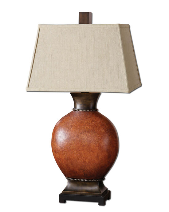 Crackle Table Lamp in Burnished Dark Red