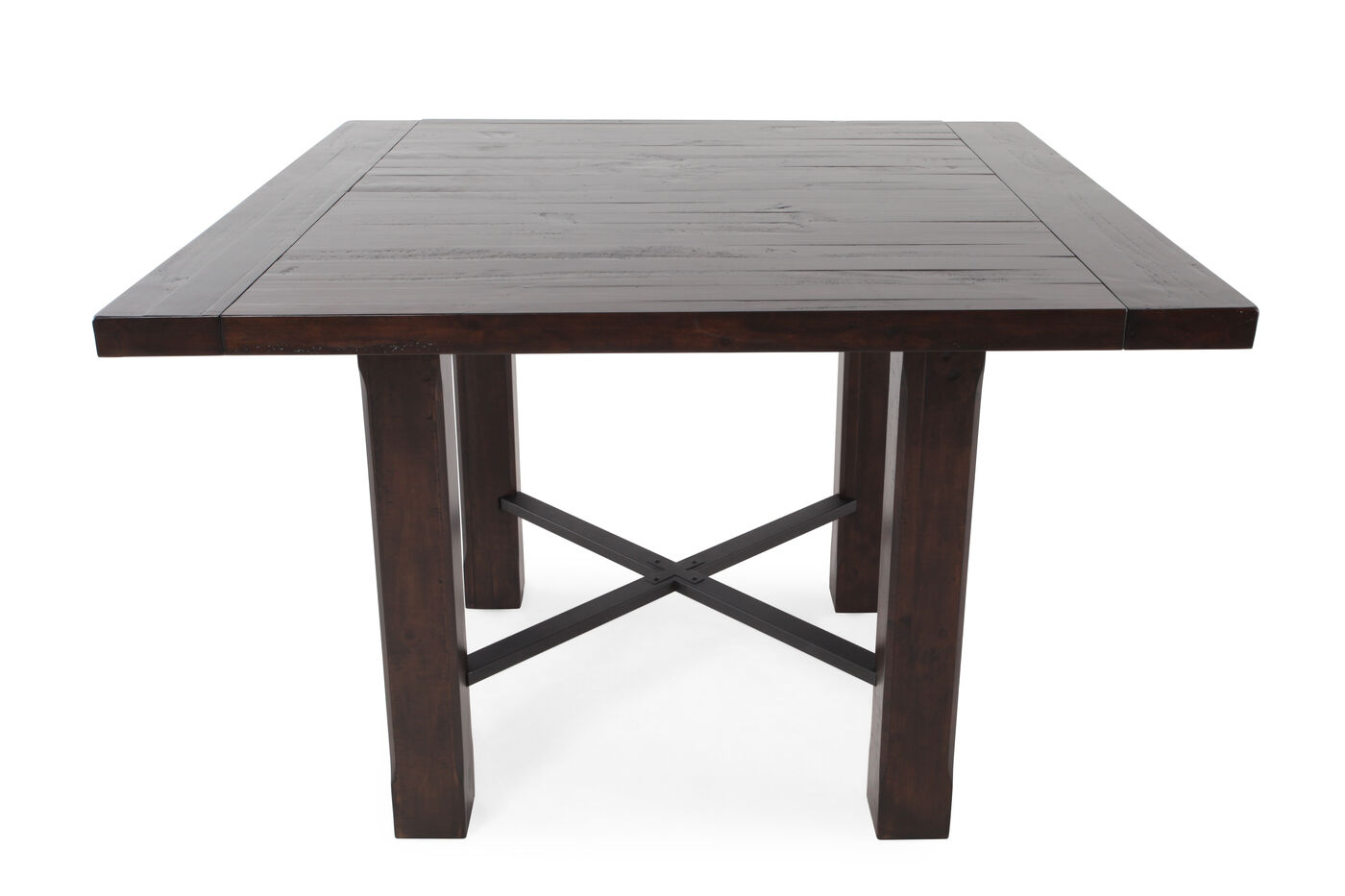 transitional 54 square counter table in rustic pine mathis brothers furniture. Black Bedroom Furniture Sets. Home Design Ideas