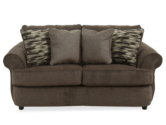 """Rolled Arm Casual 74"""" Loveseat in Brown"""