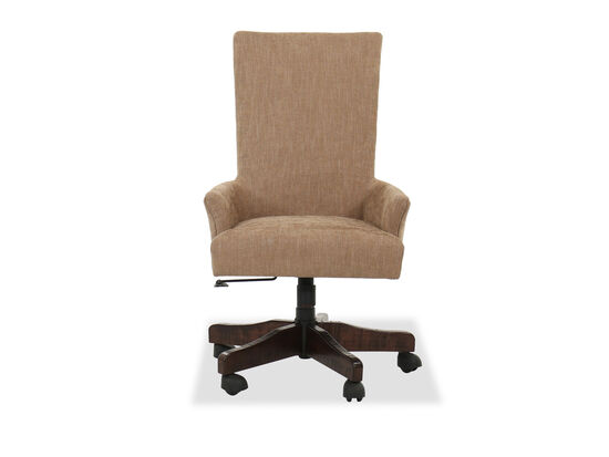 Casual Nailhead Accented Desk Chair in Brown