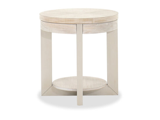 Round Contemporary End Table in Whitewash