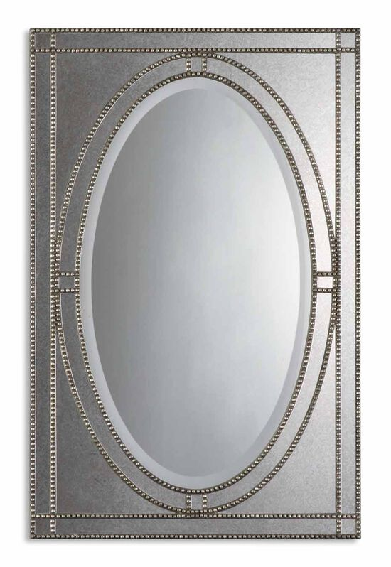 "43.5"" Beaded Framework Oval Mirror in Antique Silver"