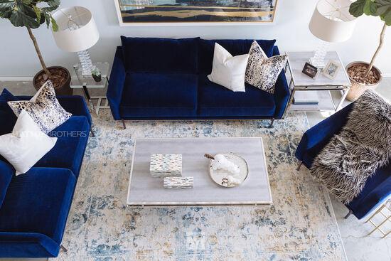 Casual Velvet Sofa in Blue