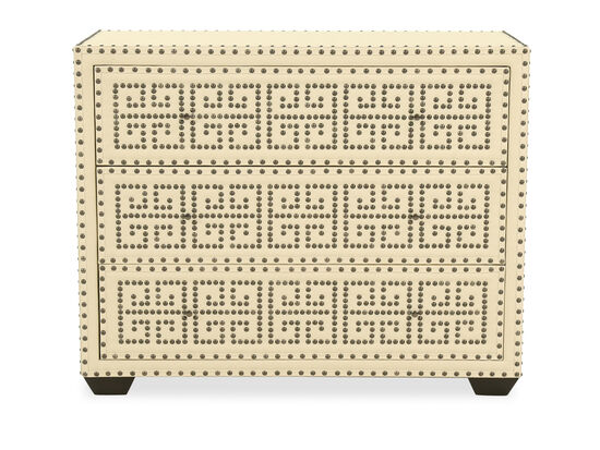 """32"""" Nailhead-Accented Contemporary Three-Drawer Chest in White"""