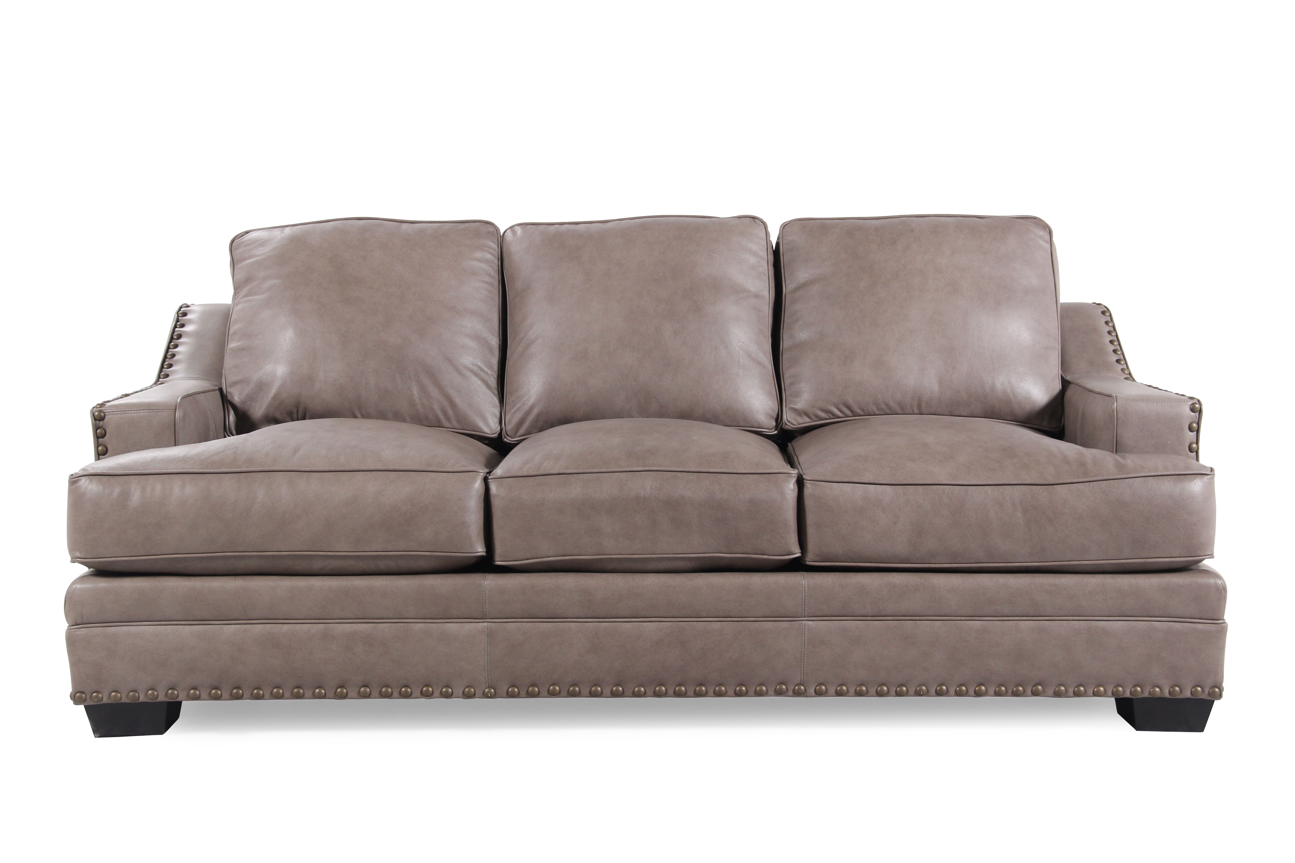 LowProfile NailheadAccented Leather 84 Sofa in Chestnut Brown