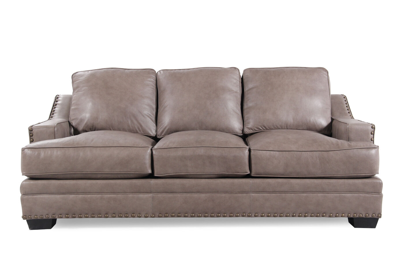 Low Profile Nailhead Accented Leather 84 Quot Sofa In Chestnut