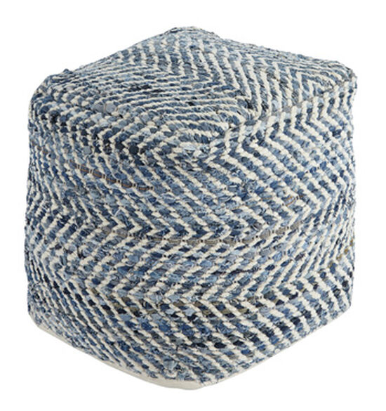 """Striped Traditional 20"""" Pouf in Blue"""