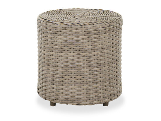 Contemporary Woven Drum Patio End Table in Light Grey