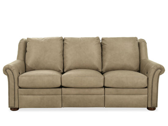 """Nailhead-Accented Leather 88"""" Power Reclining Sofa in Light Grey"""