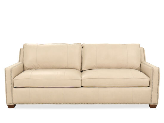 """Nailhead-Accented Leather 90"""" Sofa in Beige"""