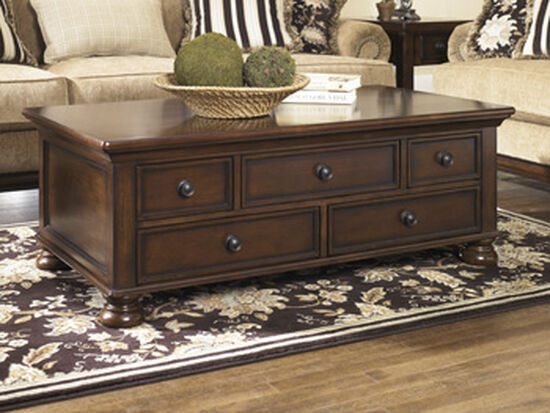 Five-Drawer Rectangular Cocktail Table in Rustic Brown