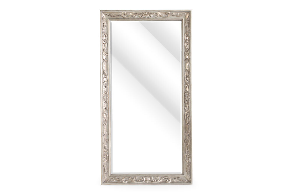 """80"""" Contemporary Carved Floor Mirror in Metallic Gold"""