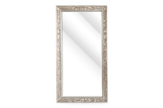 "80"" Contemporary Carved Floor Mirror in Metallic Gold"