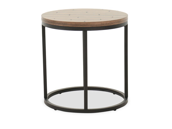 Transitional Round End Table in Wheat