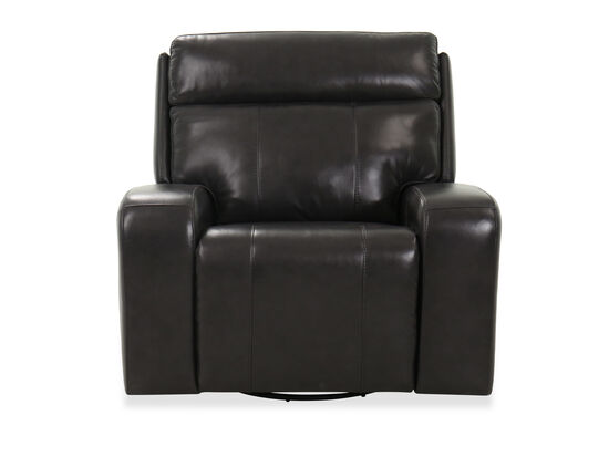 "44"" Leather Power Recliner in Black"