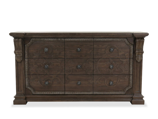 "41"" Traditional Nine-Drawer Dresser in Brown"