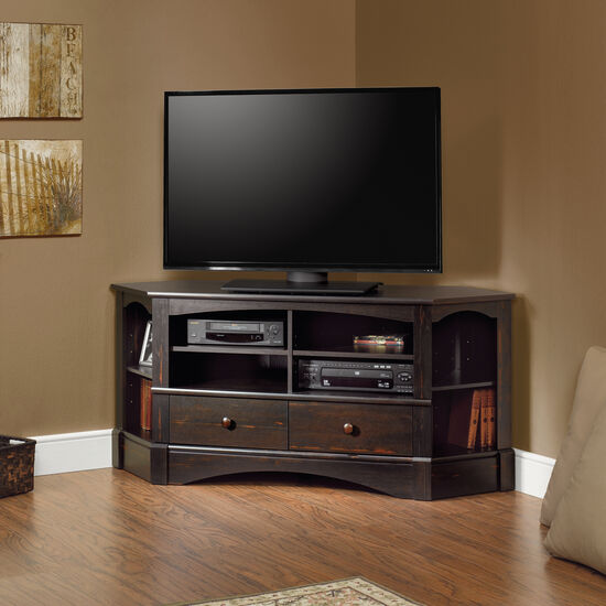 Two-Drawer Traditional Entertainment Credenza in Dark Brown