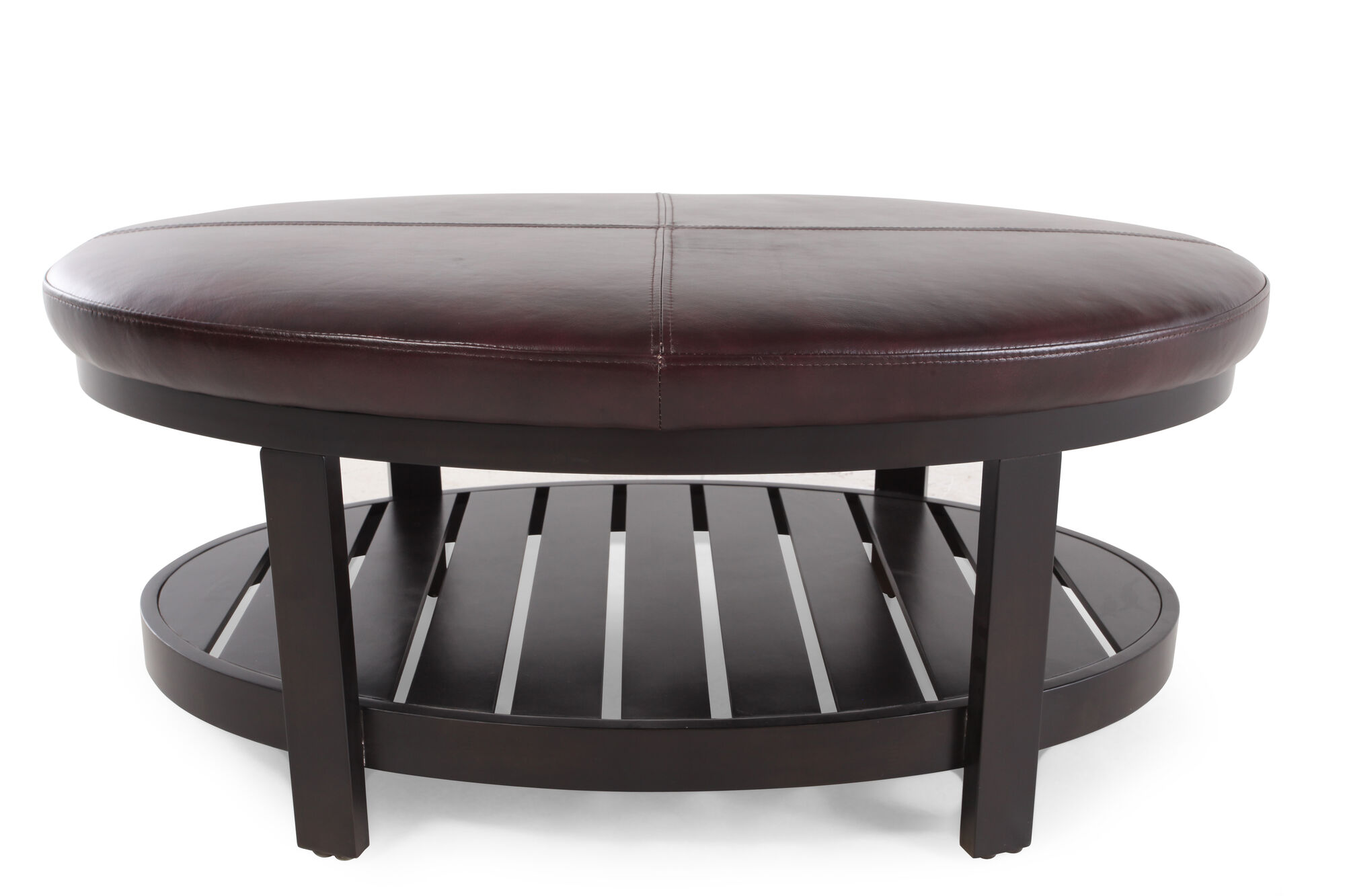 Traditional 43 Leather Top Tail Ottoman