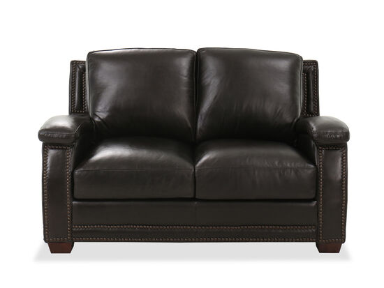 "Nailhead-Accented Casual 61"" Loveseat in Primo Smoke"