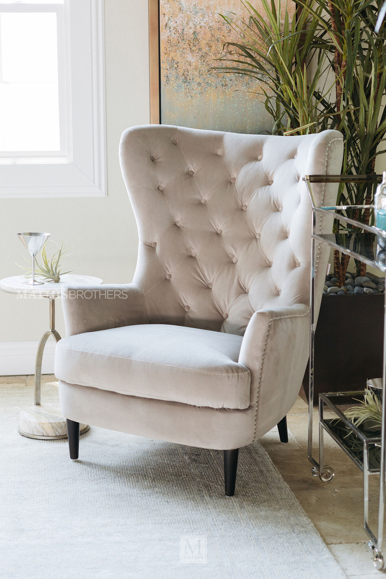 button tufted contemporary 33 quot accent chair in granite 83654