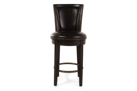 "Leather Nailhead Accented 47"" Swivel Bar Stool in Dark Walnut"