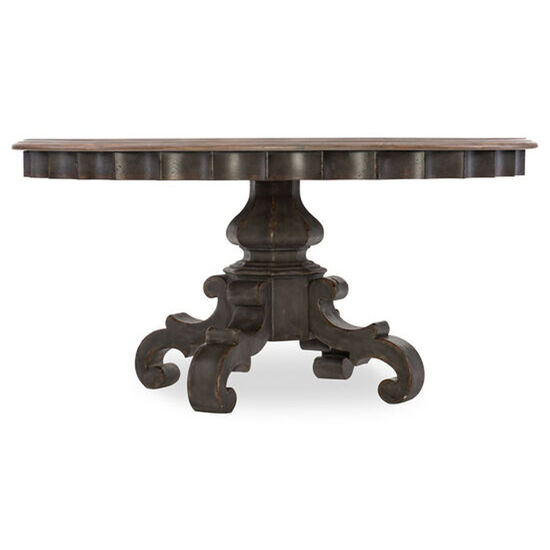 """Arabella 60"""" Round Pedestal Dining Table in Gray"""