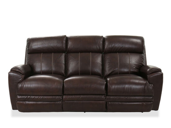 "Casual 85.5"" Power Reclining Sofa in Brown"