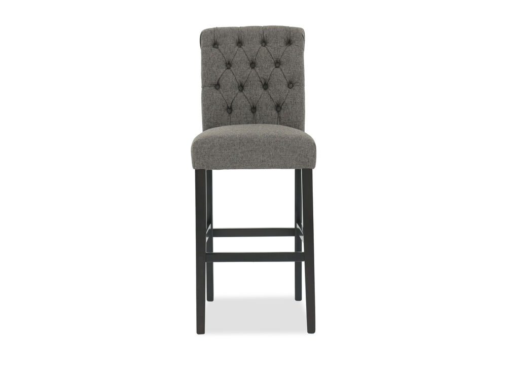 "Button Tufted 39"" Armless Bar Stool in Gray"