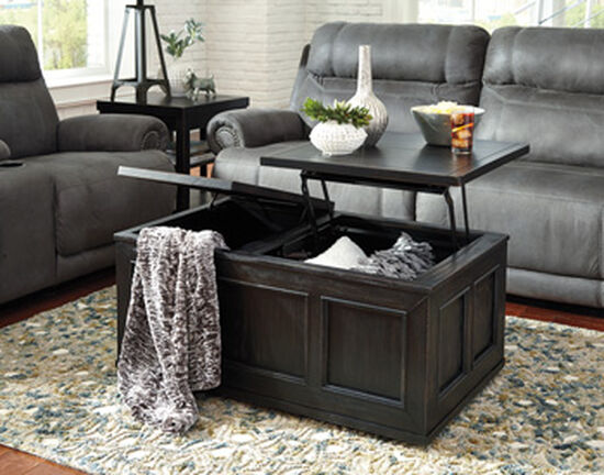 Lift-Top Rectangular Casual Cocktail Table in Rubbed Black